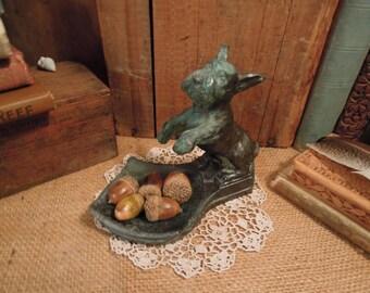 Antique Crescent Art Scottie Dish / Vintage Terrier Ashtray /  Pipe Holder / Tobacco Collector