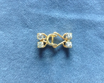 "Gold clasp w/ clear crystals.  1"" (25mm) 1 pc."