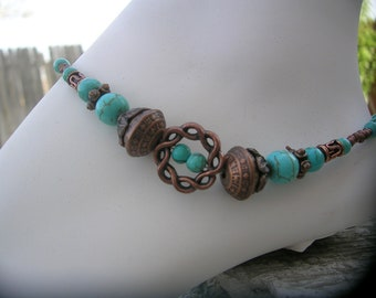 Turquoise and copper anklet