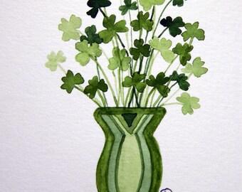Shamrocks, St. Patrick's Day, Vase of Shamrocks, Watercolor Note Cards - No. 1223 Vase of Shamrocks