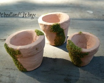 Miniature Clay Pots for miniature gardens for Realpuki's and like size dolls