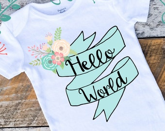 Hello World Onesies®, Hospital Outfit, Newborn Baby Girl Onesie, Graphic Onesie, Shabby Chic Baby, Hello World New Baby, Home From Hospital