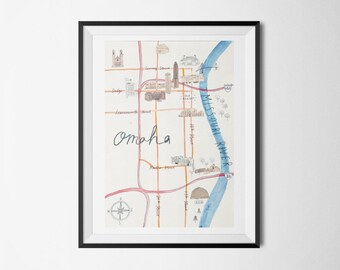 "Omaha Landmarks Map - giclee print, illustration 8 x 12"""