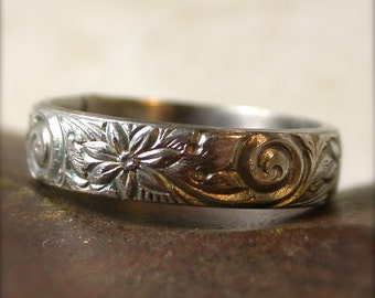 Sterling Silver Ring Floral Swirl Patterned Wedding Band Engagement Ring - Made to Order
