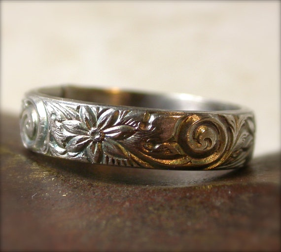 Sterling Silver Ring Floral Swirl Patterned Wedding Band