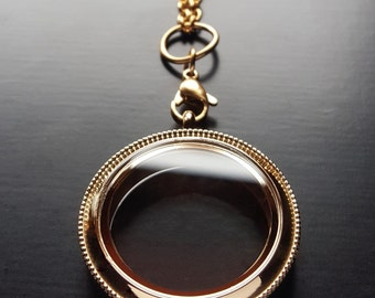 Gold Heirloom Floating Locket-Large-30mm-Stainless Steel