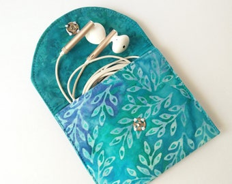 Earbud Case, Batik Cotton  Earbud Holder, Coin Purse, Purse Organizer, Mini Wallet, Credit Card Case