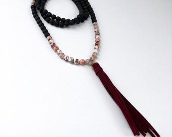 Lava & Crazy Lace Agate Necklace