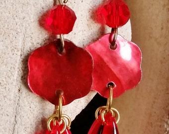 Red Flower Dangle Earrings, Swarovski, Mother of Pearl
