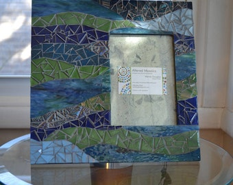 Green and blue mosaic picture frame