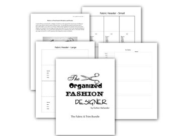 Printable fabric and trim headers and forms to organize a stash