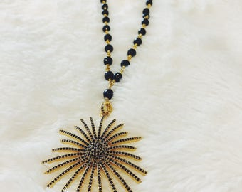 Long Black Spinel Chain with Pave Sunburst
