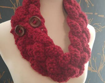 Beautiful handmade celtic-inspired braided crochet scarf or cowl with two wooden button closure. Made with chunky yarn, can be customized