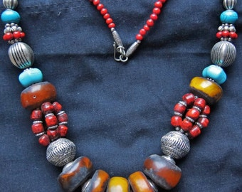 Berber RESIN Faux Amber Beads Necklace with Turqoise, Moroccan Sahara