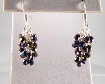 Dark Purple Dangle Earrings with Silver Wires, Sterling or Steel