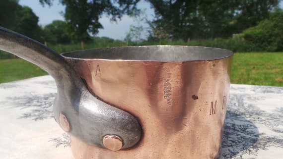 "Paul LEGRY Copper Pan 1.7mm 14cm 5 1/2"" Pan Marked LEGRY Antique Copper Saucepan Artisan Maker Hotel Ware Pot Lead, Side Edge Dents"