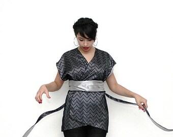 Japanese kimono top, Black sleeveless vest, One size top, Bohemian top, Black evening top, Black wrap top, Wrap top, Black elegant top