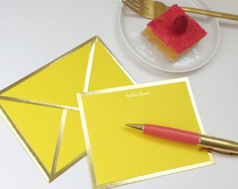 Hello There Yellow Card with Gold Foil Bordered Envelope