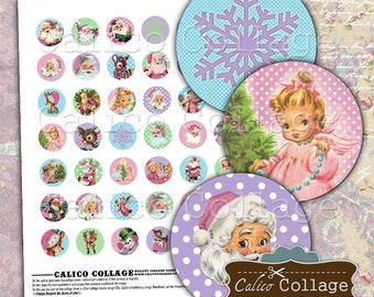 Cute Christmas, Digital Collage Sheet, 1 Inch Circles, Bottlecap Images, Images for Pendants, Cabochons Images, Pink Santa, Pastel Christmas