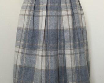 High Waisted Plaid Pleated Wool Skirt