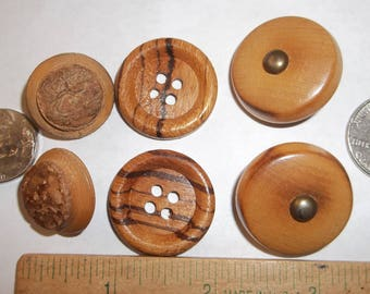 "Vintage Wood Buttons 3 Pairs 1 1/8"" Metal Shank 1"" 4 Hole 7/8"" Carved Shank"