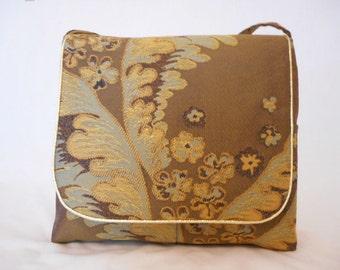 SALE PRICE brown jacquard messenger bag metallic gold trim handmade by RiverPurseWorks