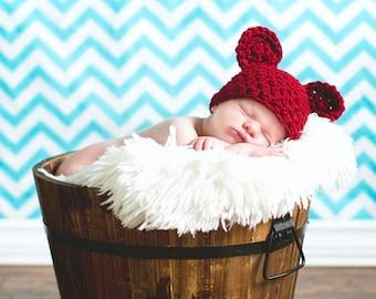 Handmade Newborn Teddy Bear Hat in Red