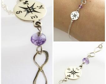 Voyage cadeau • Bracelet boussole • infini charme • Bracelet • boussole • Rose charme Bracelet • Graduation cadeau • inspiration cadeau de naissance