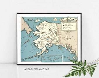 ALASKA MAP PRINT Instant Download -- printable vintage picture map for framing, totes, pillows, cards etc. - vintage home decor art print