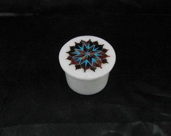 "Trinket Box Exclusive Handmade  marble inlaid semiprecious stone  jewelry box  2"" round pietra dura art"