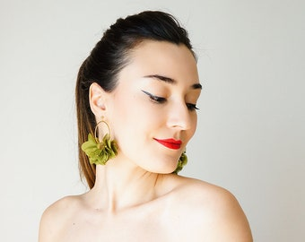 Statement Jewelry Statement Earrings Floral Earrings Boho Earrings Gold Earrings/ CICITI