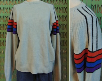 Vintage 80s Knit Sweater Ski Sweater Cable Knit Sweater Rainbow Striped Sleeves Grunge Sweater Boho Sweater