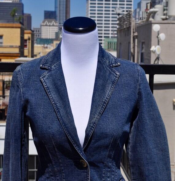 1990s Nine West Ribbed Denim Blazer with Two Pockets Sz XS