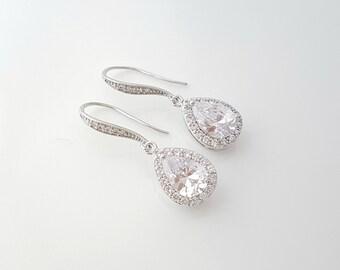 Drop Bridal Earrings, Crystal Wedding Jewelry, Bridesmaid Earrings, Cubic Zirconia Bridal Jewelry, Tear Drop Wedding Earrings, Emma