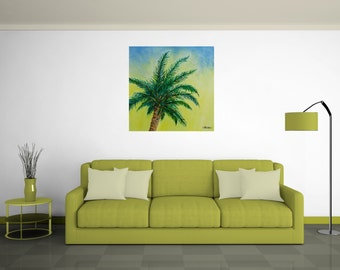 Large Original Oil Painting. Palm Tree Blue Yellow Green, 36x36 HD Canvas Artwork by ThienArt