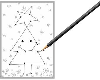 5x dot to dot postcard Christmas tree