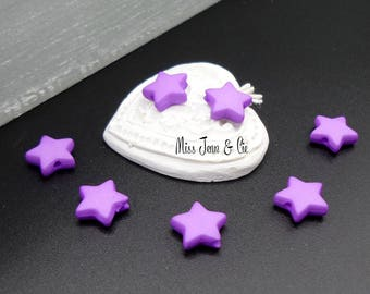 10 beads opaque acrylic stars in purple 9mm x 9mm