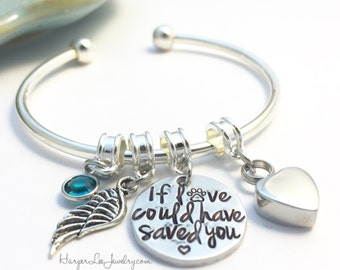 Cremation Urn Charm Bracelet ~ If loved could have saved you ~ Custom Pet Loss Remembrance Memorial Necklace - Angel Wing ~ Birthstone