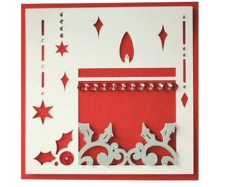 1 Christmas Candle Card with Rhinestones , Blank , stars, red, holiday, friends, family, invitation , party