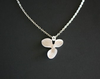Single Orchid Necklace - one simple Flower necklace, you can make your choice of Gold or Silver,  girl bridesmaid, birthday Christmas gifts