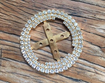 Vintage Gold Tone Rhinestone Scarf Slide, Scarf Clip, Scarf Tie, Vintage Accessories, Retro Jewelry, Accessories for Women