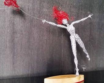 Blown away by Love,Unique wire sculpture,Follow your heart Fairy,OOAK Valentine gift,Valentine Gift Art,fantasy wire statue,Magic Love Fairy