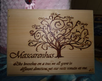 "Personalized Family Tree Pyrography Plaque - Wood Burning Art - 10.5""x8.75"""