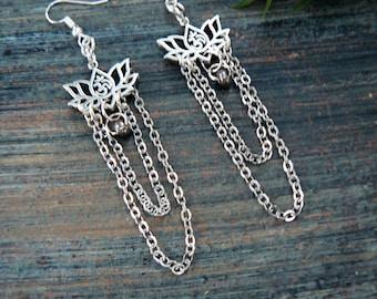 Lotus Earrings,Zen Earring,Yoga Earrings,Om Earrings,Chandelier Earrings,Namaste,Festivals,Hippie, Boho, Gypsy, New Age, Cosplay