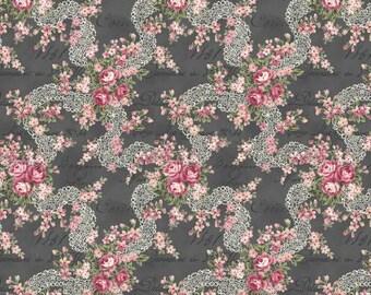 Ruru Bouquet Prima  Lace Ribbon and Rose Bouquets Black Cotton Fabric Rose ru2260-16F