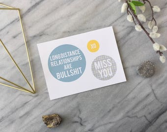 Naughty Miss You Card Funny Miss You Card Long Distance Relationship Card Funny Valentine Funny Anniversary Card Plaid Blue Yellow Grey Card