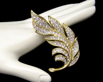 Vintage Rhinestones Brooch Pin Mid Century Two Tone Large Leaf NOS Sparkling Realistic Design