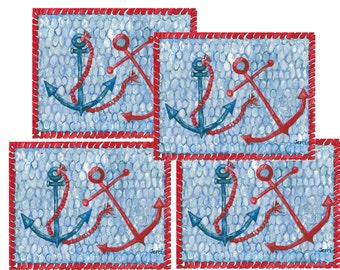 Placemats, set of 4 Nautical Anchors ....  FREE shipping!