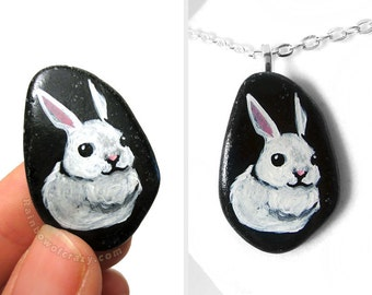 White Rabbit Art, Bunny Necklace, Hand Painted Pebble Pendant, Pet Portrait, Memorial Jewelry, Handmade Gift for Her, Animal Painting