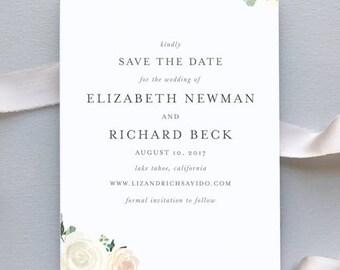 Wedding Save the Dates / Elegant Blush Floral Invitation Suite / Garden Weddings / #1136